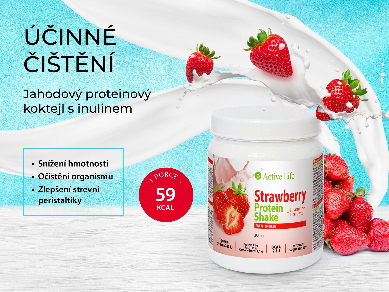 Jahodový proteinový koktejl s inulinem tianDe